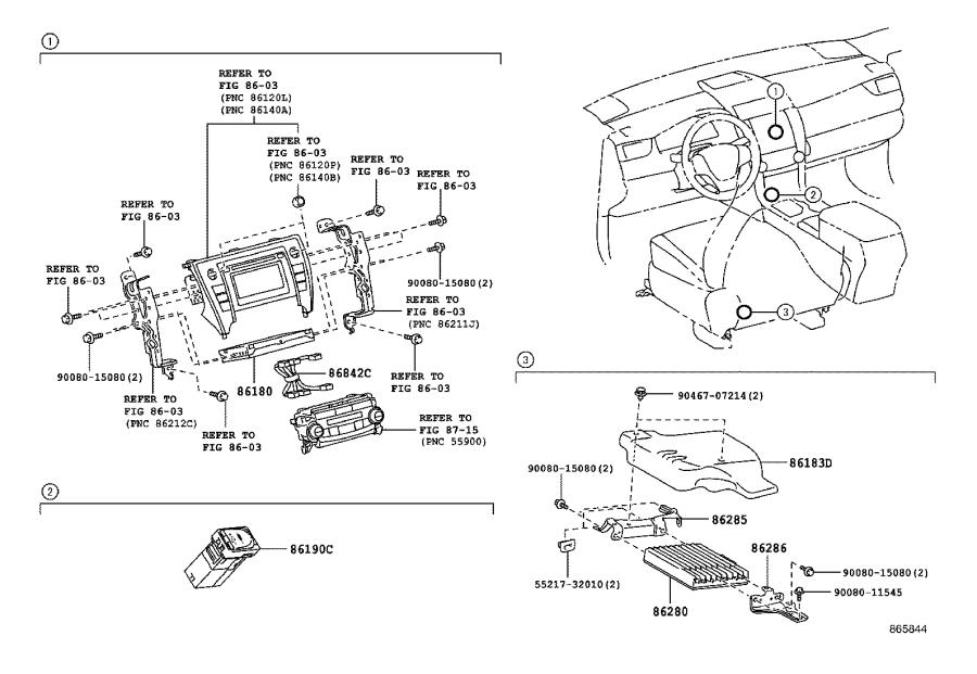 Toyota Camry Amplifier Assembly  Stereo Component